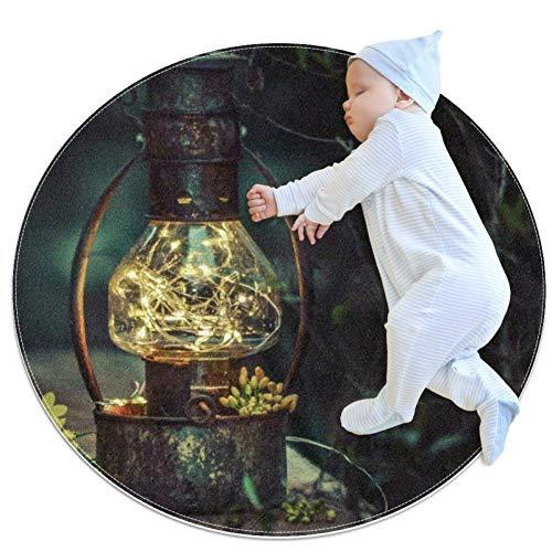 rogueDIV Laterne Blumen Lampe Pflanzen Baby Spieldecke Baby Runde Kinder Spielunterlage Verdickte Baby Krabbelunterlage, Mehrfarbig01, 70x70cm/27.6x27.6IN