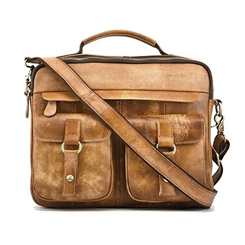 Yi-xir Bolso favorito de las mujeres para hombre, de piel bronceada, suave, de doble capa, cepillado a mano, estilo vintage, mochila diagonal (color: marrón, tamaño: 36 x 26 x 12 cm)