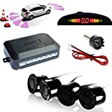 TKOOFN Car Parking Reverse Reversing Backup Radar System with 4 Parking Sensor Kit LED Display - Black