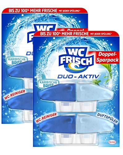WC Frisch Duo-Aktiv Karibische Brise, WC-Reiniger und Duftspüler, Nachfüllpack, 4 (2x2) Stück