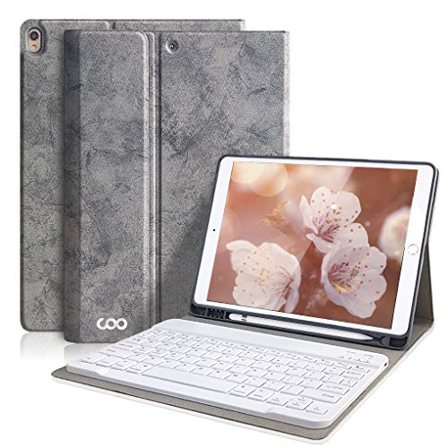 iPad Pro 10.5 Keyboard Case for iPad Air 3 10.5' 2019 (3rd Gen)/iPad Pro 10.5' 2017- Detachable Wireless Bluetooth Keyboard, Magnetic Smart Cover with Built-in Pencil Holder(Gray)