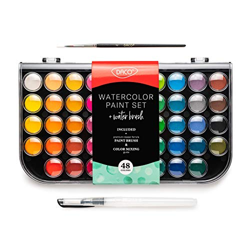 Daco Watercolor Paint Set, Travel-Friendly Art Set of 48 Easy Blending Watercolor Paints, Includes a Refillable Water Brush Pen and a Watercolor Brush, Suitable for Artists, Adults, Students and Kids