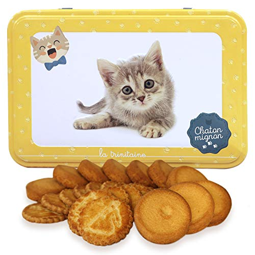 ラ・トリニテーヌ キャッツ イエロー缶(ミニヨン)ネコ クッキー ガレット・パレット詰め合わせ