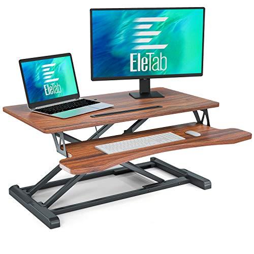 EleTab Standing Desk Converter Sit Stand Desk Riser Stand up Desk Tabletop Workstation fits Dual Monitor 32 inches Brown-nut