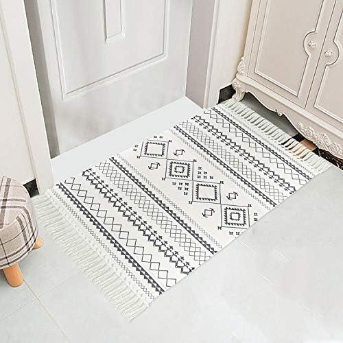 Sandia Style Rug 23 6 x 43 3 Hand Woven Cotton Indoor Outdoor Area Rugs Door Mats Print Tassels product image