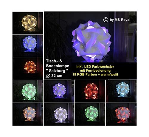 """Bodenlampe Tischlampe Kugellampe """" Salzburg """" Größe 32 cm, inkl. 15 RGB Farben LED Farbwechsler + warm/weiß, im Retro Stil der 70er/80er Jahre"""