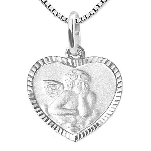 Clever Schmuck Set Silberner Kinder Anhänger Herz 10 mm Engel matt, Rand glänzend diamantiert, Rückseite