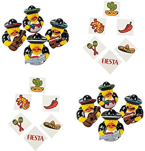 HAPPY DEALS ~ 12 Vinyl Mariachi Band Rubber Ducks - Fiesta Party Duckies - 2 inch and 72 Fiesta Party Tattoos