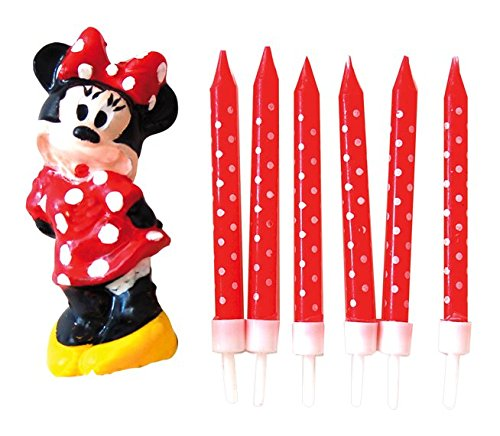 Minnie Mouse - Pack de 6 velas y 1 figura (Verbetena 014000294)
