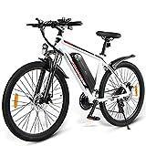SAMEBIKE Ebike Bicicleta de Montaña de 26 Pulgadas, Bicicleta de Montaña Eléctrica para Adultos 36V 10AH, Bicicletas Eléctricas Hombres Mujeres I Shimano 7 Marchas I con Instrumento LCD (Blanco)