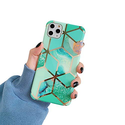Funda para Iphone11/11Pro/11Pro MAX Funda Mármol Protector TPU Anti Choque Enchapado Alto Grado Back Cover,Verde,11pro MAX