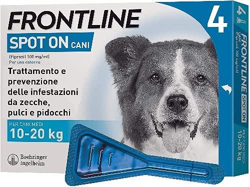 Frontline Spot On, 4 Pipette, Cane Taglia M (10 - 20 Kg), Antiparassitario per Cani e Cuccioli di Lunga Durata, Protegge da Zecche, Pulci e Pidocchi, Antipulci In Confezione da 4 Pipette