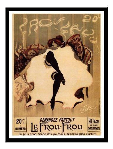 Le Frou Frou, Lucien Henri weil Jugendstil Druck Magnetisches Memoboard Schwarz Gerahmt 41 X 31 CMS...