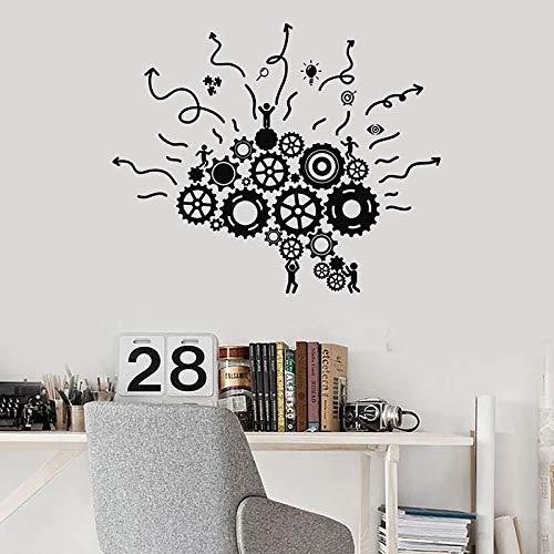 Zahnräder Wandaufkleber Gehirne Arbeitsplatz Teamwork Business Office Studio Innenschlafzimmer Dekoration Tür Fenster Vinyl Aufkleber Kreative Kunst Wandbild