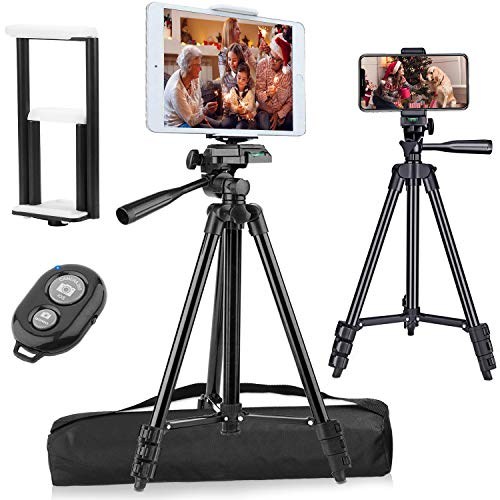 """PEYOU Compatible for iPad iPhone Tripod, 50"""" Lightweight Aluminum Phone Camera Tablet Tripod + Wireless Remote + Universal 2 in 1 Mount Holder for Smartphone (Width 2.2-3.3""""),Tablet (Width 4.3-7.3"""")"""