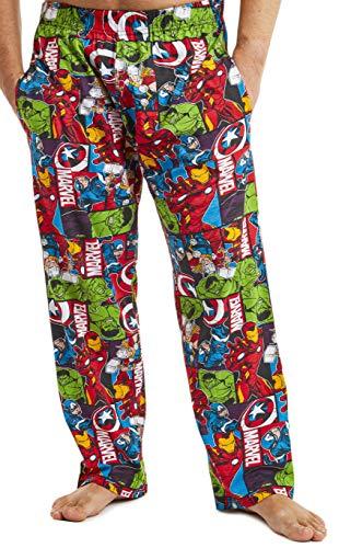 Marvel Schlafanzug Herren Lang, Avengers Freizeithose Herren, Baumwolle Pyjama L...