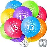 Kit Palloncini 13 ° Compleanno, Include 30 Pezzi 12 Pollici Palloncini Compleanno per Adolescenti Numero 13 Palloncini Rotondo Palloncini Stella in Lattice con 2 Rotoli Glitter Grigio Argenteo Nastri