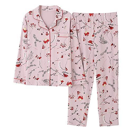 DFDLNL Herbst Winter Nachtwäsche 2-teilige Sets für Damen Baumwollpyjamas Turn-Down Kragen Homewear Pyjama Pyjama 4XL