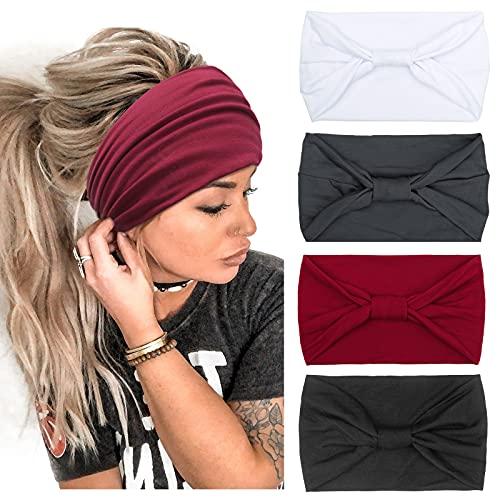 Fascia per capelli larga da donna per 4 confezioni di fasce per capelli per ragazze Fasce elastiche per lo yoga