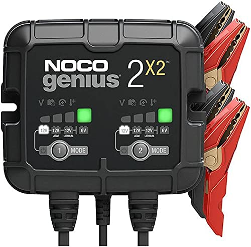 NOCO GENIUS2X2, caricabatterie automatico inteligente portatile 6V e 12V 4A (2A per banca), AGM, gel e litio, manteni...