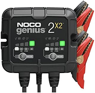 NOCO GENIUS2X2, 2-Bank, 4-Amp (2-Amp Per Bank) Fully-Automatic Smart Charger, 6V and 12V Battery Charger, Battery Maintain...