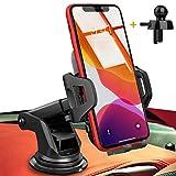 UVERTOOP Support Telephone Voiture, 3en1 Porte Téléphone Voiture Portable Support Ventouse Support Smartphone Voiture pour Tableau de Bord et Pare-Brise avec iPhone 12 11 Pro Xs Max 8 7 Galaxy S10 GPS