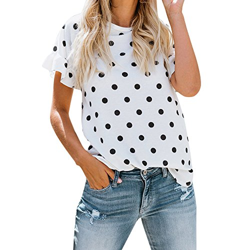 Fantastic Deal! iLOOSKR Fashion Women's Shirt Round Neck Print Polka Dot Short Sleeve Tops T-Shirt(W...