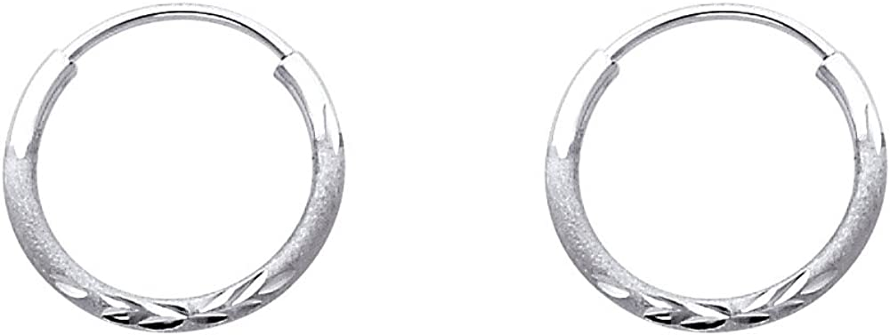 Direct sale of manufacturer 14k White OFFicial store Gold 1.5mm Thickness Endless Differe Earrings 8 - Hoop