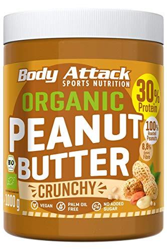 Body Attack Erdnussbutter 30% Protein ohne Zuckerzusatz mit Stückchen Peanut Butter (Bio Crunchy, 1 kg)