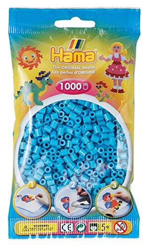 Hama Perlen 207-49 Bügelperlen Beutel mit ca. 1.000 Midi Bastelperlen mit Durchmesser 5 mm in azurblau, kreativer Bastelspaß für Groß und Klein