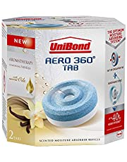 UniBond AERO 360 Degree Moisture Absorber Vanilla Refill Tab, Aromatherapy, Ultra-Absorbent and Odour-Neutralising for AERO 360 Degree Dehumidifier, Condensation Absorbers, Twin Pack (2 x 450 g)