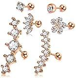CASSIECA 6 Piezas 16G Pendientes de Cartílago de Oreja de Acero Inoxidable para Mujeres Niñas Pendientes Flor CZ Conch Tragus Helix Piercing Joyería