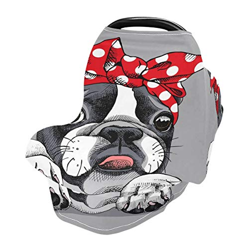 Nursing Cover Breastfeeding Scarf French Bulldog Portrait- Baby Car Seat Covers, Stroller Cover, Carseat Canopy (929a)