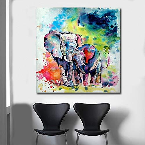 NFXOC Carteles e Impresiones nórdicos Arte de Pared Pop Acuarela Pintura en Lienzo Elefante Imágenes abstractas para la decoración de la Sala de Estar (50x50cm) Sin Marco