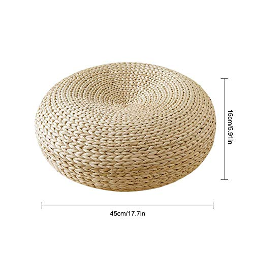 Woven Straw Cushion, Handmade Chair Cushion, Yoga Seat Cushion, Meditation Pad, Hand Woven Tatami Floor Cushion, Knitted Straw Flat Seat Cushion (45 x 15cm)