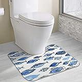 Alfombrilla de baño antideslizante, ultra microfibra para ducha, inodoro, absorbente de agua (40 x 49 cm, peces azules de acuario)