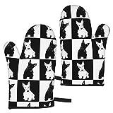 Guantes de Horno de Tablero de ajedrez escocés Negro y Trigo, Cocina de Silicona Resistente al Calor para 500 Grados con