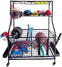 Omreid Garage Storage System, Garage Sports Equipment Oganizer With Baskets and Hooks, Ball Storage Rack, Sports Gear Storage, Rolling Sports Ball Storage Cart , Black Steel, Powder Coated For Adult