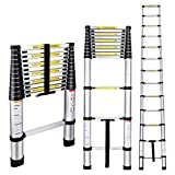 Gimify Telescoping Telescopic Extension Ladder 12.5 FT Aluminum Alloy Extendable Lightweight Ladder Steps Safety for Roofing Business, Household Use, RV Outdoor Work, 330 lbs Capacity
