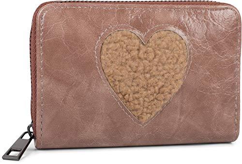 styleBREAKER Damen Mini Geldbörse mit Teddy-Fell Herz, Reißverschluss, Portemonnaie 02040130, Farbe:Altrose