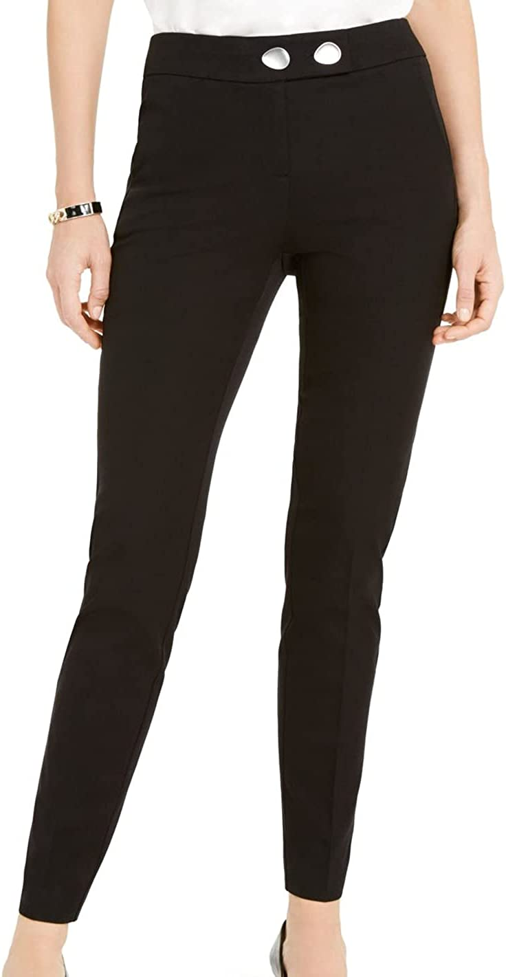 Alfani Womens Black Solid Skinny Wear to Work Pants Size 8