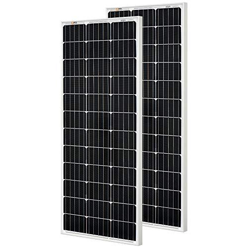 RICH SOLAR 2 Pieces 100 Watt 12 Volt Monocrystalline Solar Panel High Efficiency Solar Module Charge Battery for RV Trailer Camper Marine Off Grid