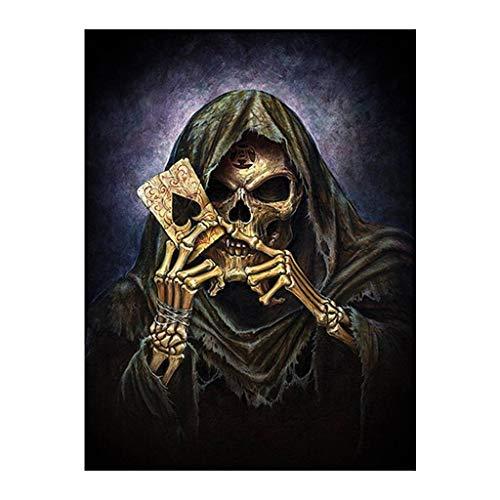 Kit de Pintura de Diamante Cuadrado 5D Cráneo para Jugar a la Tarjeta Cristal Diamantes de Imitación Bordado de Punto de Cruz de Suministros de Arte Lienzo Decoración de Pared 30 x 40 cm