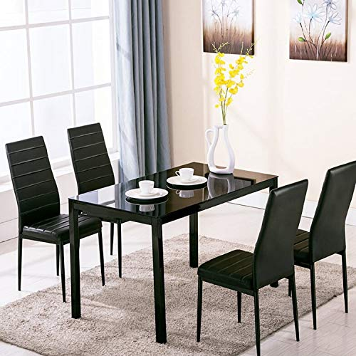 EBS 5 Piece Modern 115 cm Rectangular Transparent Glass Top Dining Table Dinette Set with Metal Frame, High Back Faux Leather Chair of 4 for Dining, Kitchen, Living Room, Restaurant, Black