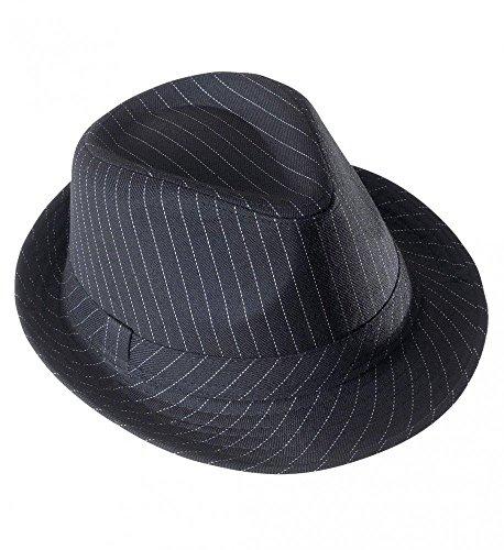 shoperama Sombrero de rayas blancas y negras para hombre y mujer Mafiosi Mafioso