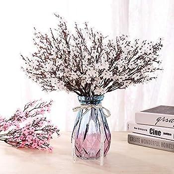 LUSHIDI 6PCS Artificial Baby Breath Flowers Fake Silk Real Touch DIY Floral Bouquets Decor Wedding Party Decoration Arrangements White