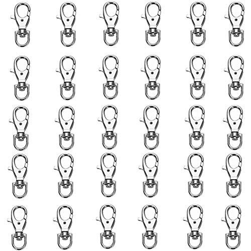 Haken Schlüsselanhänger Swivel Trigger Karabiner Schwenk Karabinerhaken Abnehmbarer Schlüsselring mit Drehbaren Schlüsselschlössern Zinklegierung Schlüsselband (30 Stück)