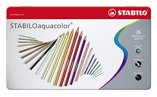 Lápiz de color acuarelable STABILO aquacolor - Caja de metal con 36 colores