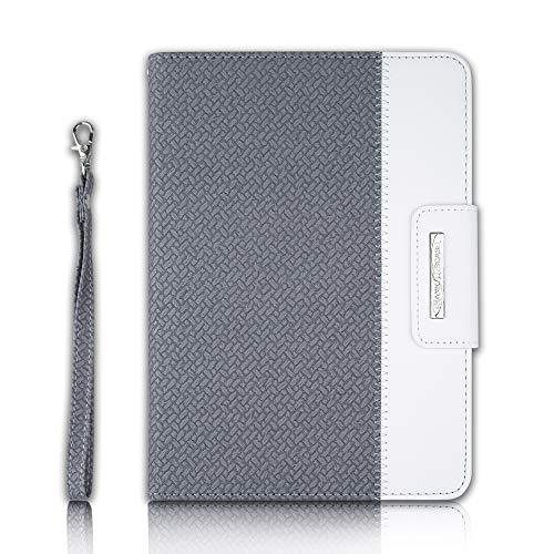 Thankscase Case for iPad Mini 5 / iPad Mini 4, Soft TPU Case for iPad Mini 5 with Pencil Holder,Swivel Case Protective Cover Build-in Hand Strap, Wallet Pocket for iPad Mini 5th Gen 2019 (Grey Weave)