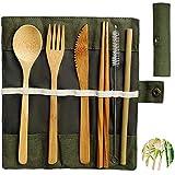 NETUME Bambus Besteck Set | Reisebesteck | Umweltfreundliches Besteck Bambus Mehrweg, Messer Gabel Löffel Stäbchen Strohhalme Und Bürst 20cm